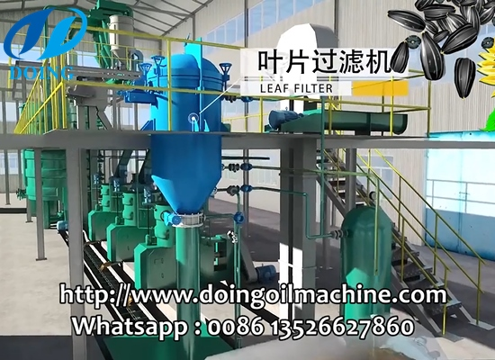 Large capacity sunflower oil production plant running process 3D video
