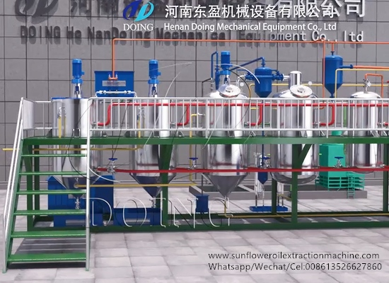 1-10tpd batch type sunflower oil refinery machine working process 3D video