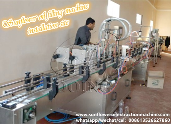 Automatic sunflower oil filling machine is being installed in Kazakhstan