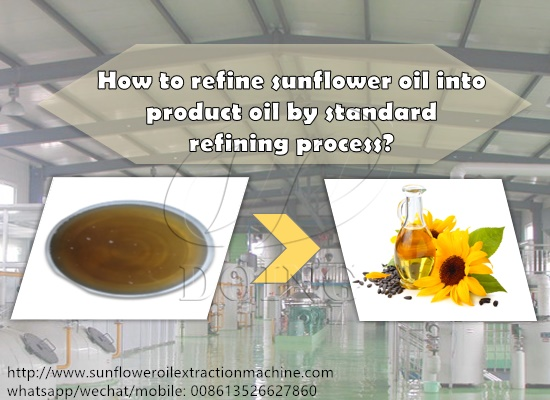 How to refine sunflower oil into product oil by standard refining process?