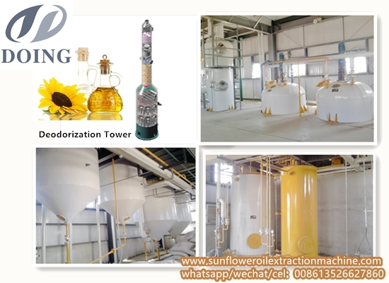 10-50TPD semi-continuous sunflower oil refinery plant