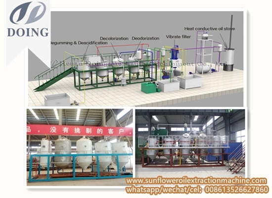 1-20TPD batch type sunflower oil refinery plant